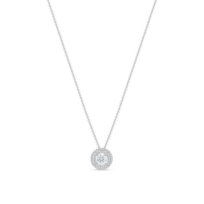 Pendentif Aura double halo diamant taille brillant