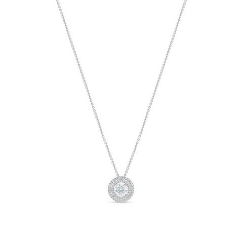 Aura double halo round brilliant diamond pendant