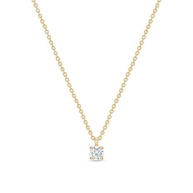 DB Classic黃金圓形鑽石吊墜項鍊