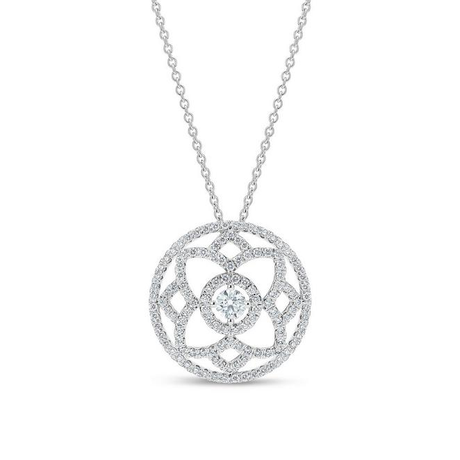 Enchanted Lotus  medal pendant in white gold