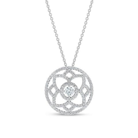 Enchanted Lotus  medal pendant in white gold 45 cm