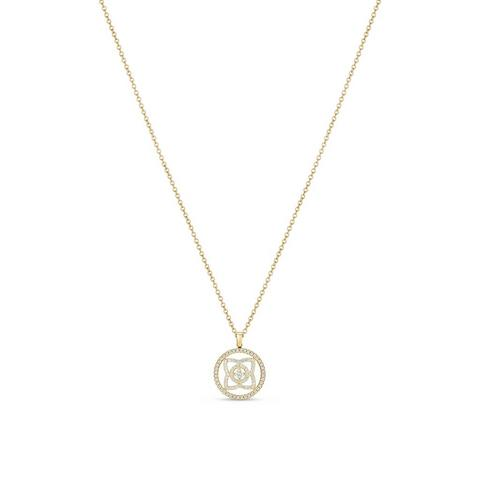 Enchanted Lotus medal pendant in yellow gold 45 cm