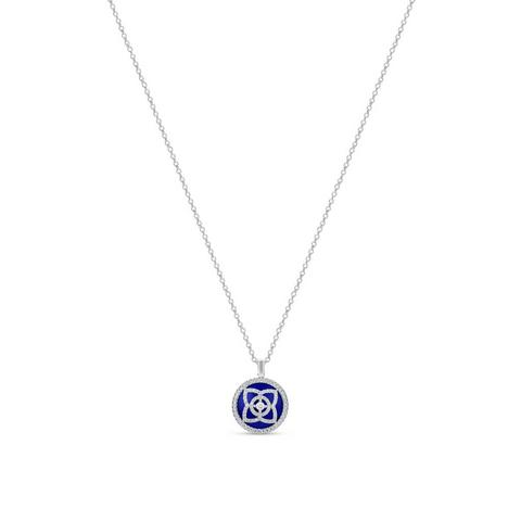 Enchanted Lotus pendant in white gold and lapis lazuli