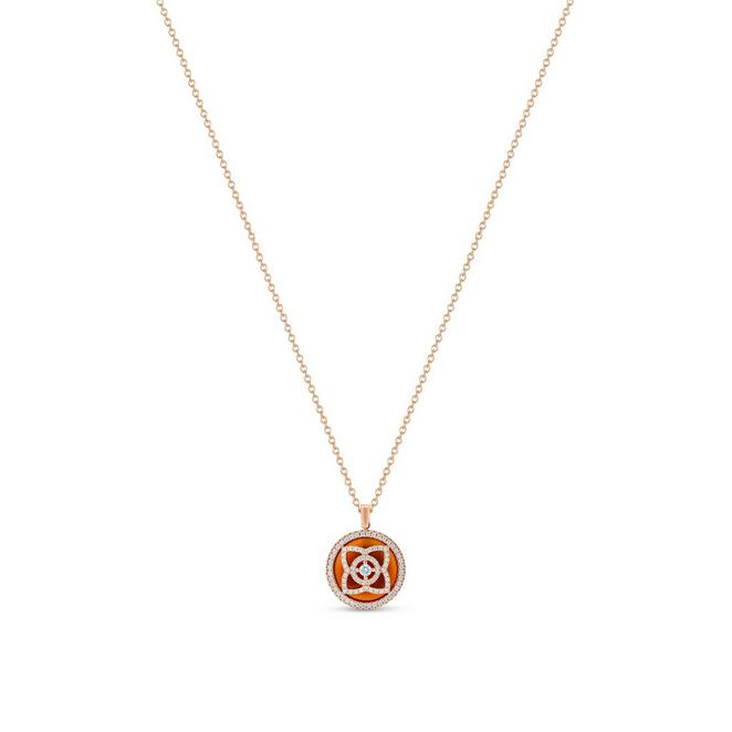Enchanted Lotus pendant in rose gold and carnelian