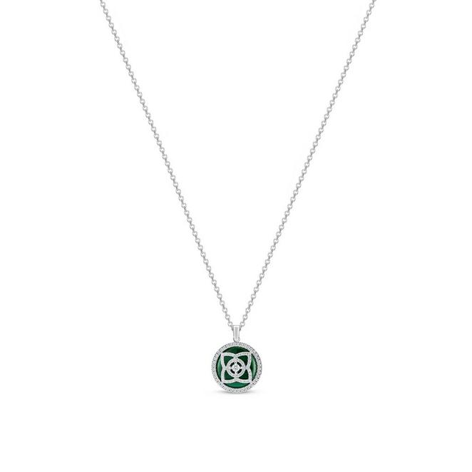 Enchanted Lotus pendant in white gold and malachite