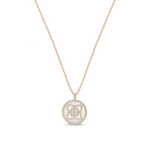 Enchanted Lotus pendant in rose gold and mother-of-pearl 45 cm