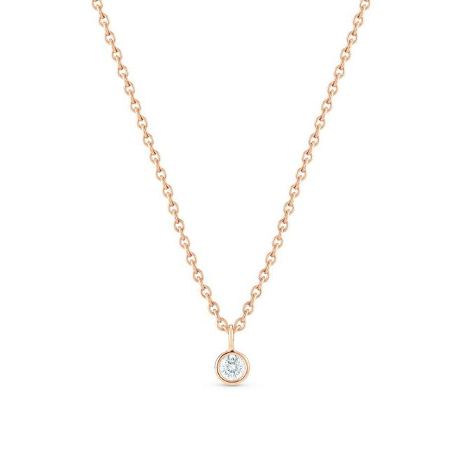 Clea one diamond pendant in rose gold