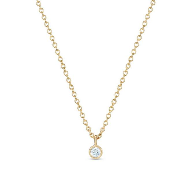 Clea one diamond pendant in yellow gold