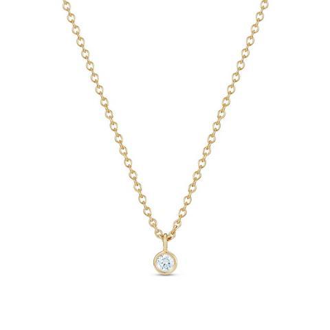 Clea one diamond pendant in yellow gold