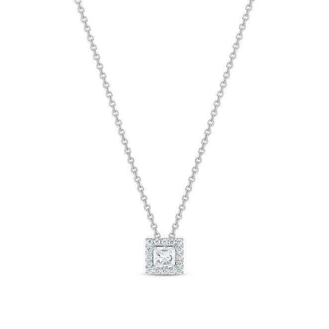 Aura princess-cut diamond pendant