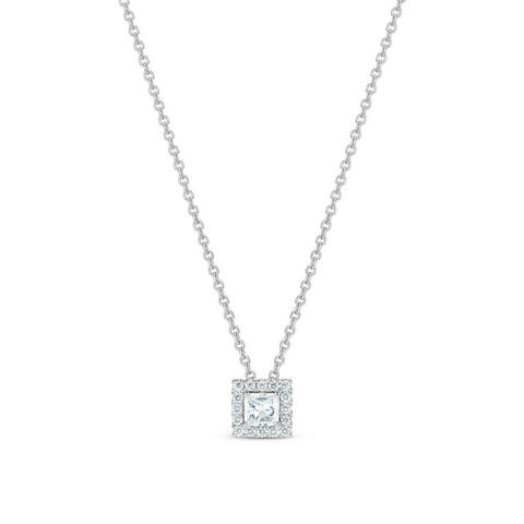 Aura princess-cut diamond pendant 45 cm