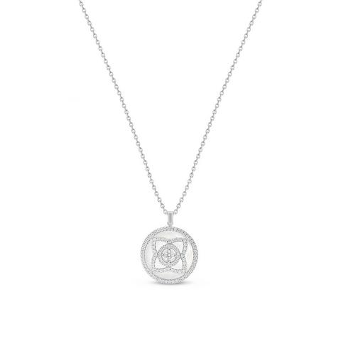 Enchanted Lotus pendant in white gold and mother-of-pearl