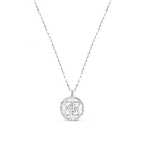 Enchanted Lotus 珍珠母贝白金钻石项链
