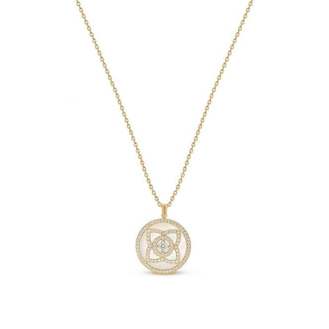 Enchanted Lotus 白色珍珠貝母黃金圓牌項鍊