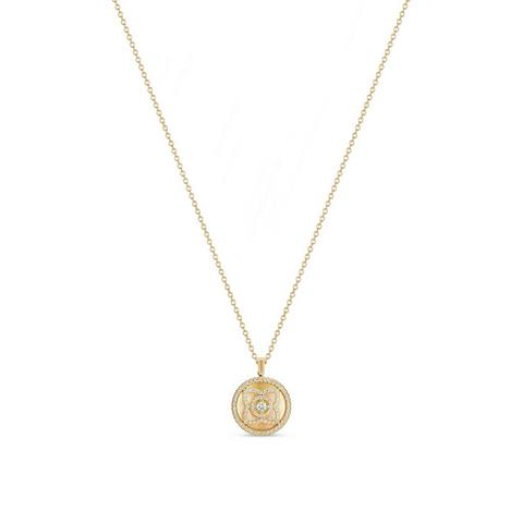 Enchanted Lotus pendant in yellow gold and mother-of-pearl 45 cm