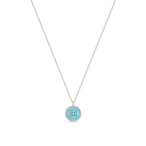 Enchanted Lotus pendant in white gold and turquoise 45 cm
