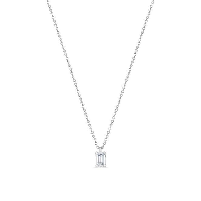 DB Classic白金祖母綠式鑽石吊墜項鍊