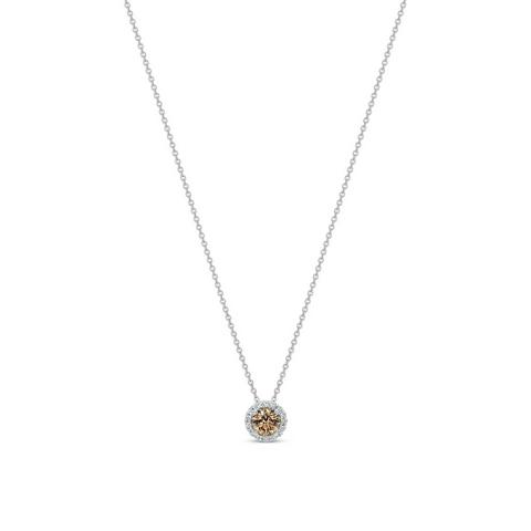 Aura fancy brown round brilliant diamond pendant 0.5ct