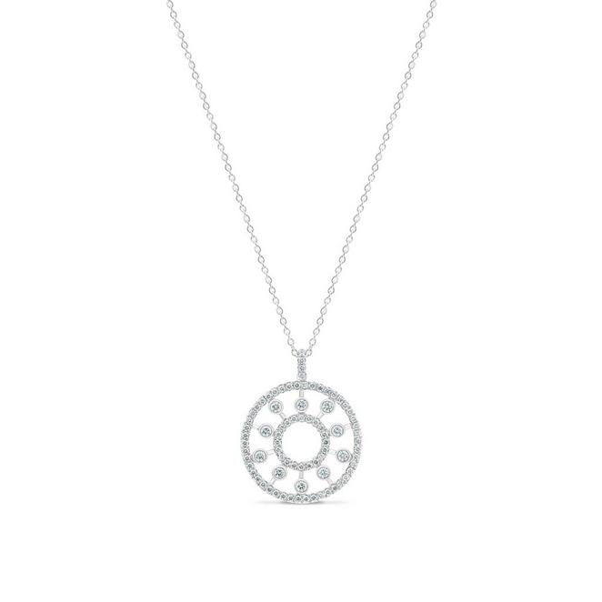 Dewdrop medallion in white gold