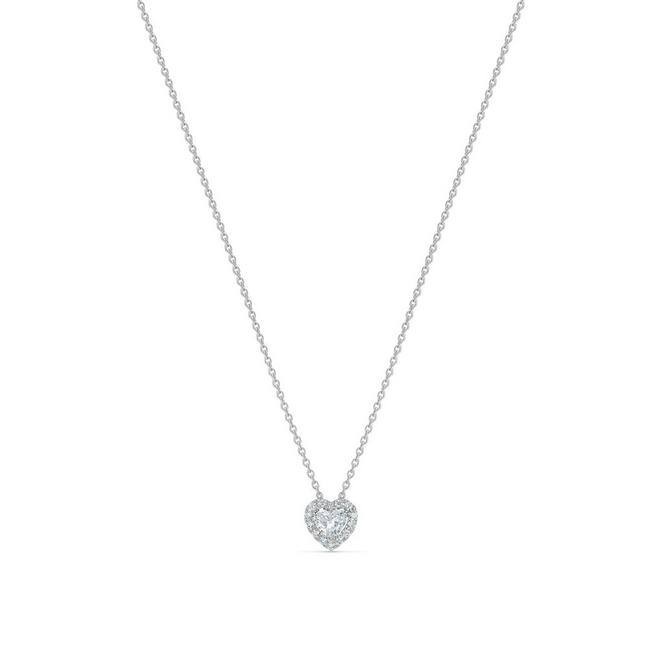 Aura heart-shaped diamond pendant in white gold