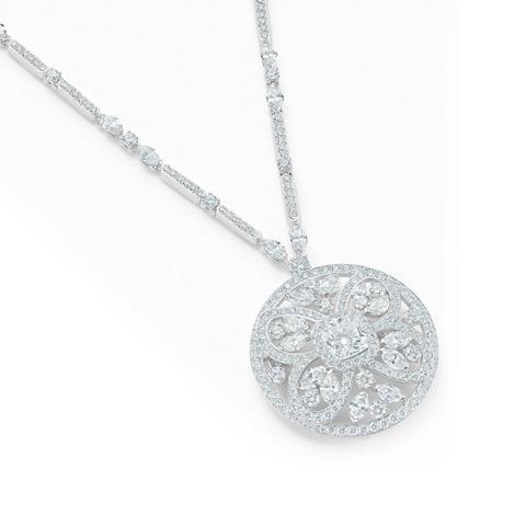 Ellesmere Treasure 蝶形鑽石圓牌項鍊
