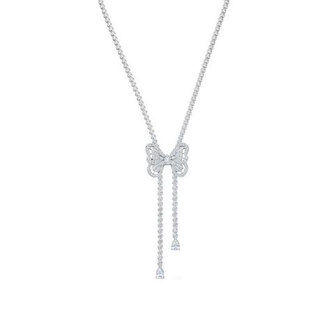 Butterfly necklace in white gold