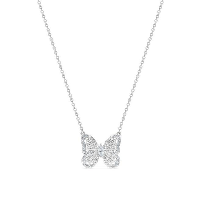 Butterfly pendant in white gold