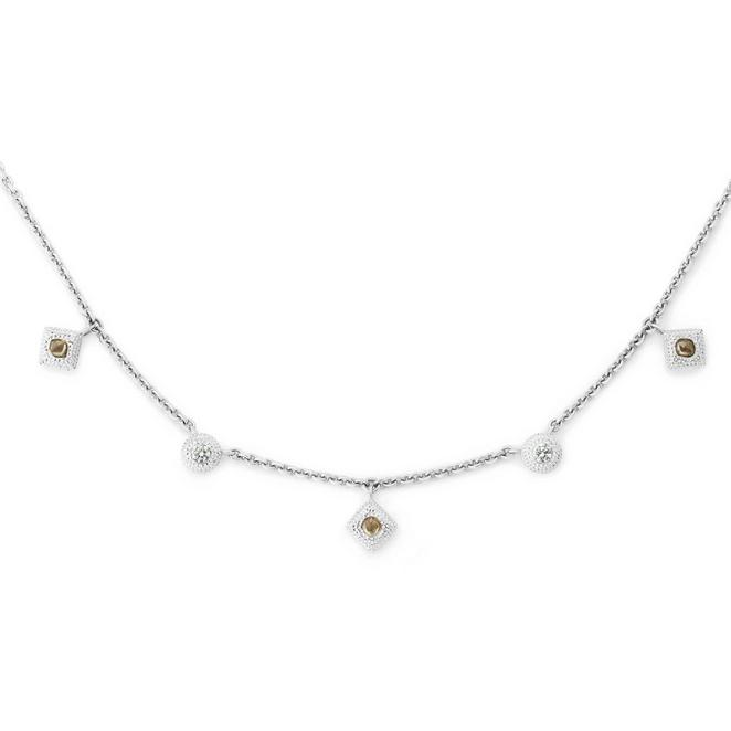 Talisman charm necklace in white gold