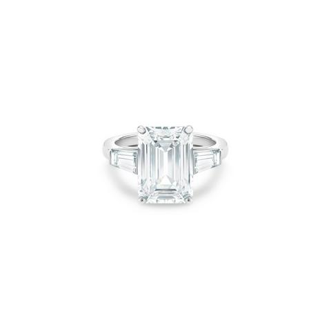 DB Classic emerald-cut and tapered diamond ring