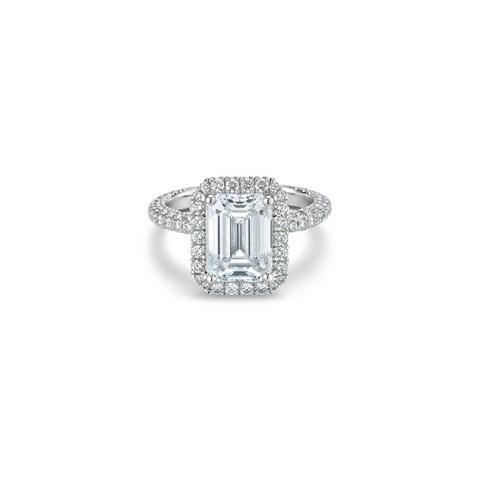 Aura 高級珠寶鉑金祖母綠式鑽石戒指