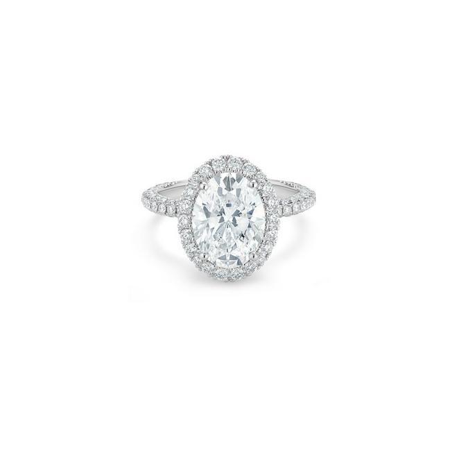Aura 高級珠寶鉑金橢圓形鑽石戒指