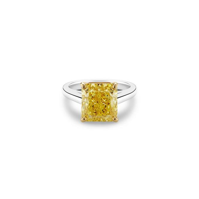 Solitaire DB Classic diamant jaune fancy taille radiant