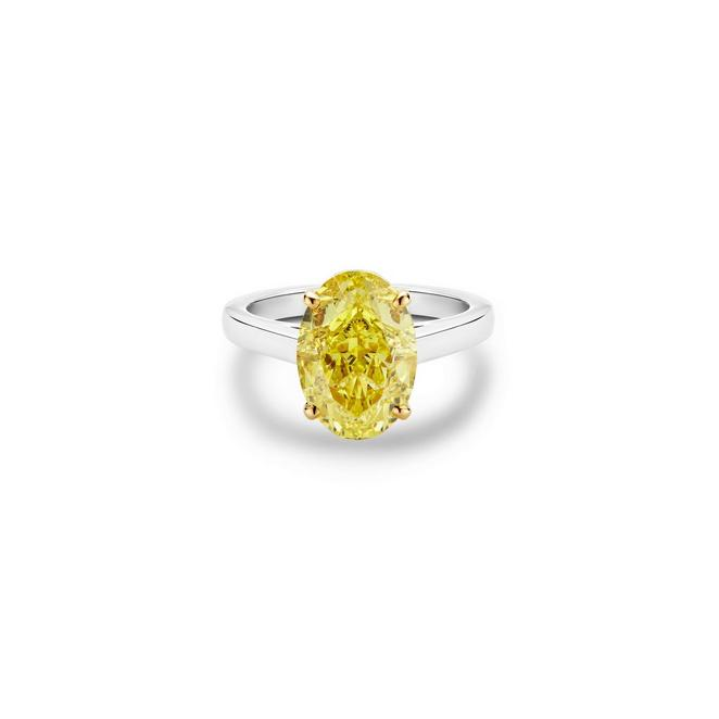 Solitaire DB Classic diamant jaune fancy taille ovale
