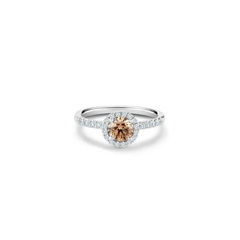 Aura fancy brown round brilliant diamond ring