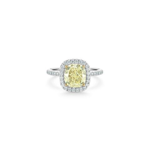 Aura fancy yellow cushion-cut diamond ring