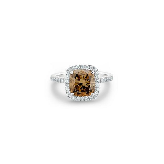 Aura fancy brown cushion-cut diamond ring