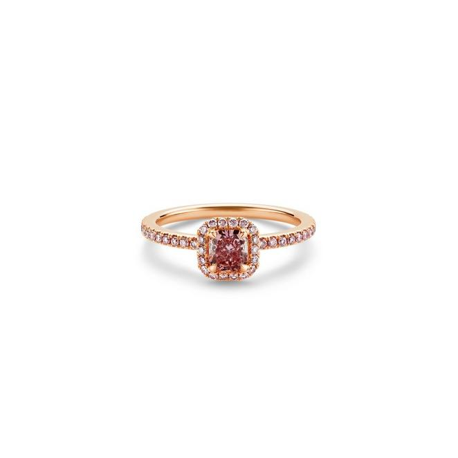 Solitaire Aura diamant rose fancy intense taille radiant