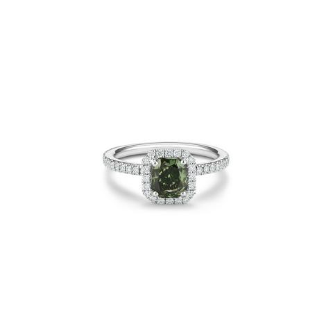 Aura fancy deep yellowish green radiant-cut diamond ring