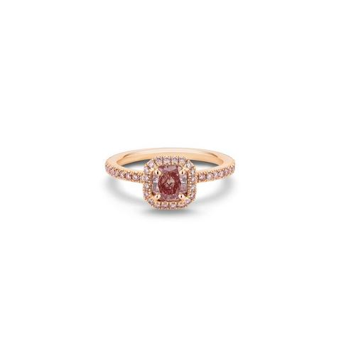 Aura fancy intense purplish pink square diamond ring