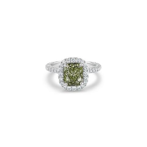 Aura fancy yellow-green cushion-cut diamond ring