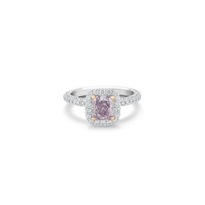 Aura fancy pink purple radiant-cut diamond ring