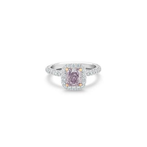 Solitaire Aura diamant fancy pink purple taille radiant