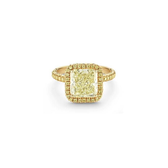 Aura fancy yellow radiant-cut diamond ring
