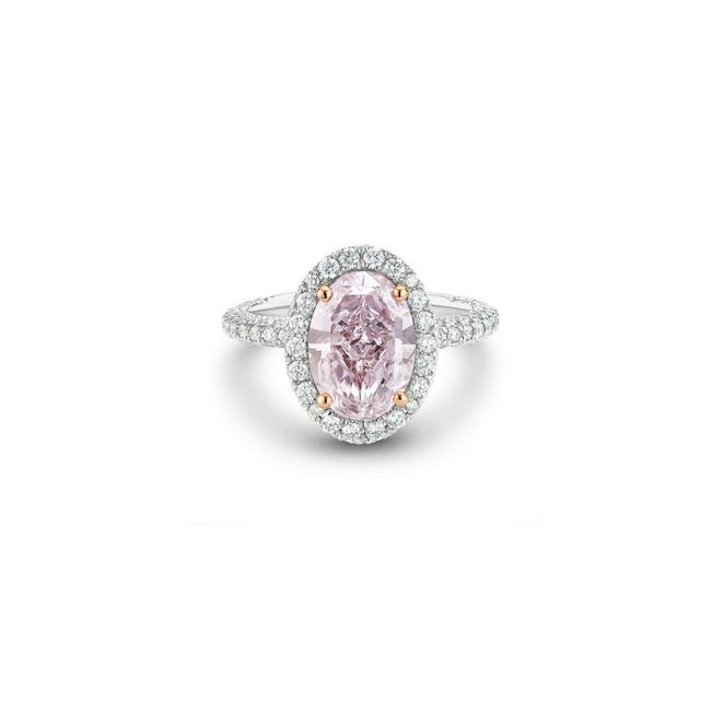 Aura fancy colour oval-shaped diamond ring