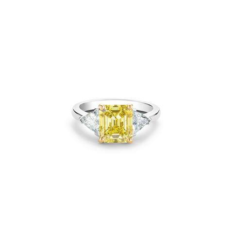 DB Classic fancy vivid yellow emerald-cut diamond ring