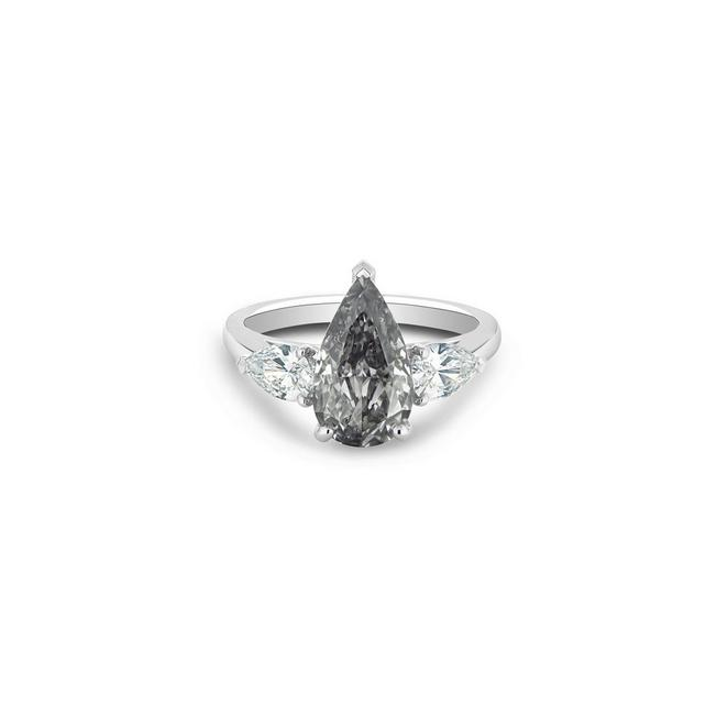 DB Classic fancy grey and white pear-shaped diamond ring