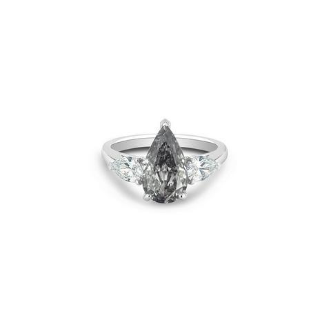 Solitaire DB Classic diamant gris fancy et diamants latéraux taille poire
