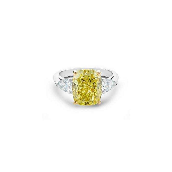 DB Classic fancy intense yellow cushion-cut diamond ring