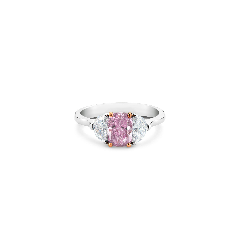 DB Classic fancy vivid purple pink cushion-cut diamond ring   De Beers US