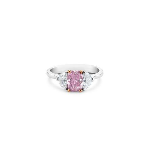 DB Classic fancy vivid purple pink cushion-cut diamond ring
